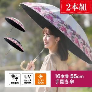 完全遮光 日傘 遮光率100% UV遮蔽率99.9%以上 レディース 2本 晴雨兼用傘 傘内の温度上昇を約2/3に軽減 グラスファイバー骨 55cm 手開き式 送料無料|okamoto-kasa