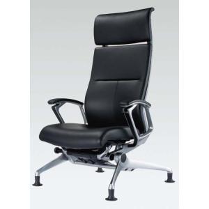 オカムラ オフィスチェア Luxos ラクソス グライドタイプ シルバーフレーム 革 ブラック 送料込み okamura