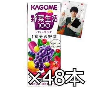カゴメ 野菜生活100 ベリーサラダ 200ml x 48本(2ケース)+クリアファイルおまけ|okashinomarch
