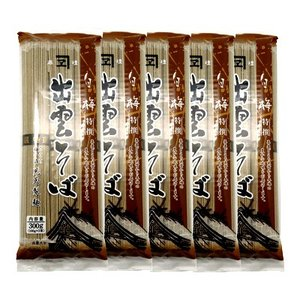 児玉製麺 白梅 特選出雲そば 300g(3人前・つゆ付) 5コ入り okashinomarch
