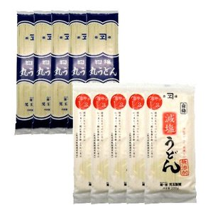 児玉製麺 白梅 丸うどん250g・減塩うどん200gセット(つゆ付) 計10コ入り okashinomarch