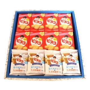 プレゼント ギフト グリコ ビスコ(15枚)・ビスコ シンバイオティクス さわやかなヨーグルト味(10枚) 計28個入 (ギフトセット B)|okashinomarch