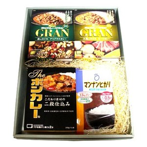 プレゼント ギフト 大塚食品 ボンカレーグラン 3種類・4個 Theボンカレー 2個 マンナンヒカリ 152g 1個 計7個入 (ギフトセット M)|okashinomarch