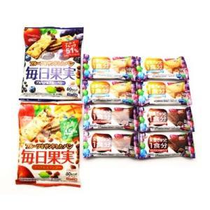 (全国送料無料) グリコ 毎日果実(6枚)2種 & バランスオンminiケーキ2種(各4コ)セット メール便 おかしのマーチ|okashinomarch