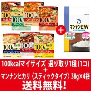 (全国送料無料) 1,000円ポッキリ! 大塚食品 100kcalマイサイズ カレーシリーズ選べる1コ & マンナンヒカリ スティックタイプ(38g×4袋)セット メール便|okashinomarch