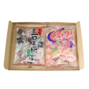 (全国送料無料) 金城製菓 ミックスゼリー(230g) 1コ & 一口羊かん(210g) 1コ 計2コ入り 食べ比べセット メール便|okashinomarch