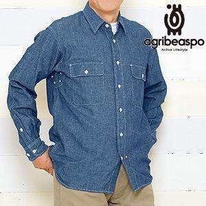 [AB14] ビアスポ/ワークシャツ メンズ 綿麻ダンガリーワークシャツ|okayama-styleshop