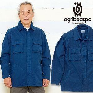 [AB15] ビアスポ/シャツ メンズ 藍染手甲ファーマーシャツ アウトドアにも|okayama-styleshop