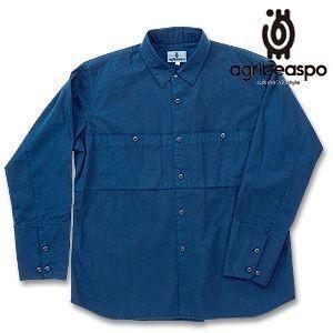 [AB17] ビアスポ/藍染ワークシャツ(綿ウェザー)/メンズ、アウトドア、ガーデニング、シャツジャケット|okayama-styleshop