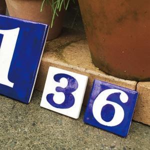 ブルーポタリー ナンバータイル 5×5 NAVY タイル 数...