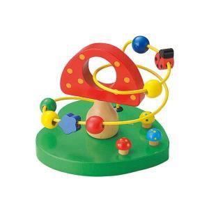 ウッデントイ ビーズコースター キノコ 玩具/おもちゃ/オモチャ/木製/子供/キッズ/子ども/男の子/女の子 北欧 雑貨 プレゼント 贈り物 お返し ギフト おしゃれ|okayulabo