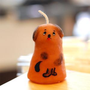 ピチオキャンドル 茶色い犬 絵付けキャンドル  【pichi...