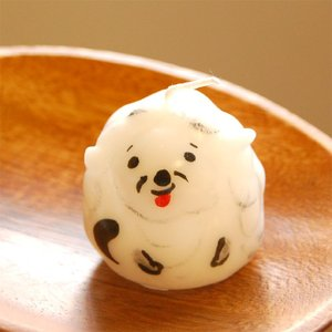 ピチオキャンドル 白い犬 絵付けキャンドル  【pichio...