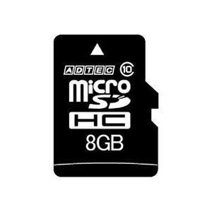 (まとめ) アドテック microSDHC 8GB Class10 SD変換アダプター付 AD-MRHAM8G/10T 1枚 〔×2セット〕