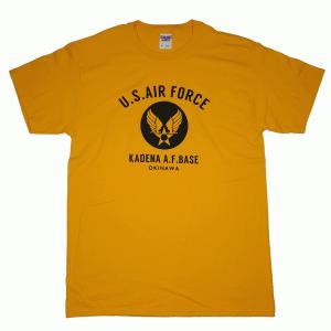 USAF エアフォース カデナ ミリタリー ゴールデンイエロー 黄色 メンズ 半袖 ティシャツ 沖縄お土産 大人気|okinawamarket