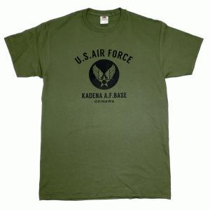 USAF エアフォース カデナ ミリタリー ミリタリーグリーン メンズ 半袖 ティシャツ 沖縄お土産 大人気|okinawamarket