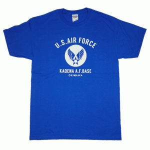 USAF エアフォース カデナ ミリタリー ロイヤル 青 メンズ 半袖 ティシャツ 沖縄お土産 大人気|okinawamarket