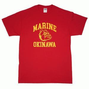 USMC マリンコープス アメリカ海兵隊 ブルドッグ ミリタリー レッド 赤 メンズ 半袖 ティシャツ 沖縄お土産 大人気|okinawamarket