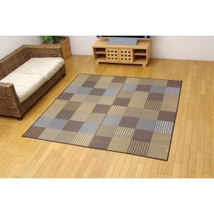 い草 ラグ カーペット 3畳 国産 モダン 袋織 京刺子 ブラウン 約191×250cm|okitatami