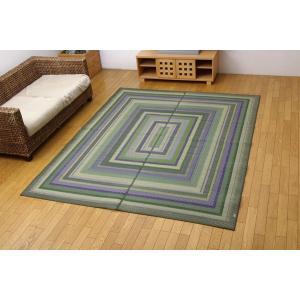 い草 ラグ カーペット 3畳 国産 袋三重織 DXグラデーション グリーン 約191×250cm 裏:不織布|okitatami