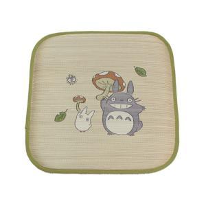 座布団 い草座布団 い草クッション い草 国産 となりのトトロ 『トトロ 森のきのこ 捺染アドラ座布団』 約55×55cm 2枚組|okitatami