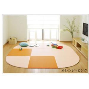 畳 へりなし カラー東レ敷楽彩美 オレンジ2枚+ピンク7枚 楕円形セット|okitatami
