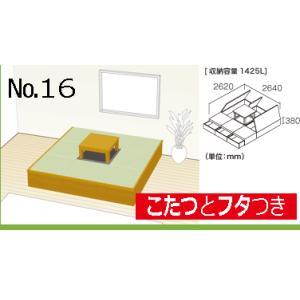 畳 ボックス 収納 高床 ユニット パナソニック NEW 畳が丘 プランNO.16 4.5畳 一方壁納まり+掘座卓3尺×3尺 送料無料 本体+座卓+フタ部分|okitatami