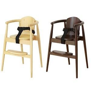 ベビーチェア ハイチェア スタックチェアー(ベルト付き)木製チェア ナチュラル ブラウン|okkagufa-mu