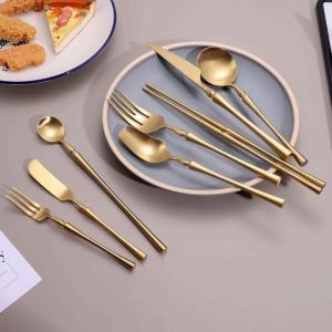 マットゴールド ユニークな カトラリーセット ディナー フォーク スプーン 304 ステンレス 鋼の 食器セット 箸セット|okuda-store