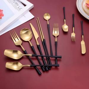 黒ゴールド カトラリーセット  ステンレス 鋼の 食器セット 銀器食器ディナー スプーン フォーク 箸ディナー カトラリー|okuda-store