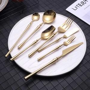304 ステンレス 鋼ゴールド 食器セット ユニークなカトラリー ミラーポリッシュ 銀器ディナー フォーク スプーン 食器セット|okuda-store