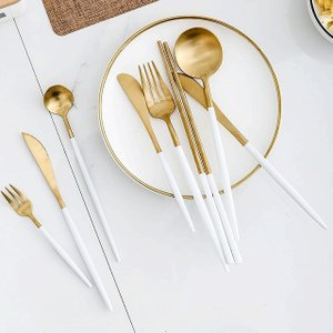 ステンレス 鋼ホワイトゴールド カトラリーセット  食器セット ゴールド銀器食器 フォーク スプーン クリスマスディナー|okuda-store