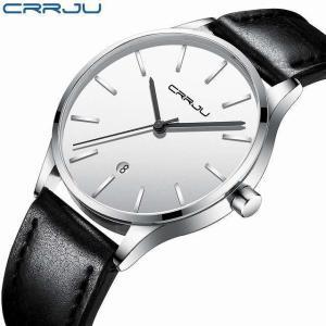 男性 用 腕時計 crrju黒カジュアル 防水 時計の 男性 レザークォーツ 腕時計 メンズ ドレス 腕時計 レロジオmasculino|okuda-store