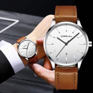 腕時計 crrju メンズ ファッション カジュアル 防水 時計の 男性 レザー ストラップ クォーツ 腕時計 メンズ ドレス日付 腕時計|okuda-store