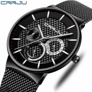 メンズ 腕時計 crrjuは、超薄型の 男性 の 高級 防水 日付 男性 メッシュ ストラップ カジュアルクォーツ時計ホワイト スポーツ|okuda-store