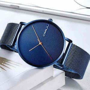 メンズ 腕時計 crrju ファッション ミニマブルーwaches 男性 の超薄型メッシュ ストラップ 腕時計 カジュアル 防水 腕時計|okuda-store