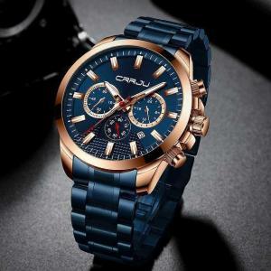 ステンレス鋼 腕時計 crrju メンズ ファッション 腕時計 高級 ビッグフェイスクロノグラフ日付クォーツ 腕時計 レロジオmasculi|okuda-store