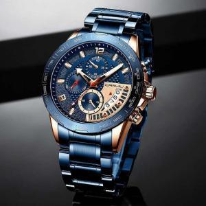 Crrju 腕時計 ファッション ステンレス鋼 メンズ 腕時計 高級 ビジネス 発光クロノグラフクォーツ時計レロジオmasculino|okuda-store