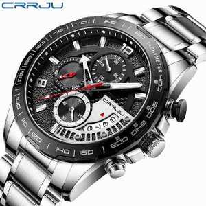 Crrju日付 腕時計 ファッション ステンレス鋼 メンズ 腕時計 ファッション ビジネス 発光クロノグラフクォーツ時計レロジオmascul|okuda-store
