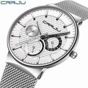 メンズ 腕時計 crrju 高級 防水 超薄型日付時計 男性 鋼 ストラップ カジュアルクォーツ時計ホワイト スポーツ 腕時計|okuda-store
