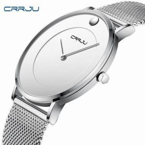 Crrju メンズ 超薄型 腕時計 高級 ビジネス クォーツスリム 腕時計 メンズ ミリタリー 防水 ドレスメッシュバンド 腕時計 zega|okuda-store