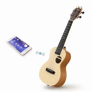 Populele Q1 音響電気スマートギターウクレレコンサートソプラノ 23 インチ 4 弦ギターウクレレ楽器ギター|okuda-store