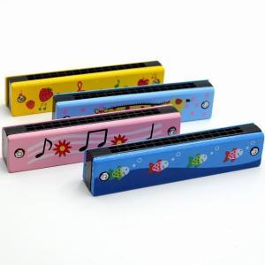 木製ハーモニカ子供のおもちゃ楽器 16 穴複列ブロー漫画色木管口ハーモニカメロディカ|okuda-store