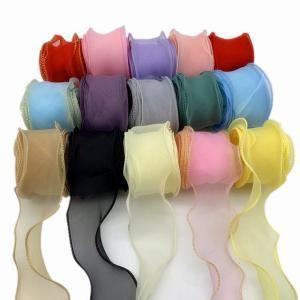 50 ミリメートル波エッジシルク オーガンジー  リボン 弓の 材料 の レース リボン 髪 飾り  包装 縫製 生地 の 服 の 装飾|okuda-store