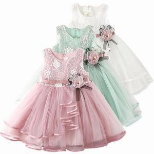 アップリケ 服 フラワー ガール 結婚式 イブニング 2-6 歳 幼児 女の子 カジュアル 服 okuda-store