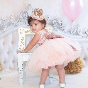 新生児 結婚式 パーティー 女 赤ちゃん ボウ背中 ドレス 幼児 女の子 1 年 誕生日 洗礼 ガウン 服 okuda-store