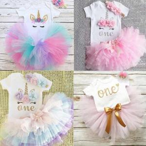 1歳 女の子 ベビー 服 ユニコーン パーティー 女の子 ドレス 新生児 女の子 1st 誕生日 服 幼児 女の子 ブティック 服|okuda-store