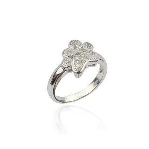 925 純銀色犬クマ動物足 リング ジルコニア結婚 指輪 女性 のためのガールズラブ|okuda-store