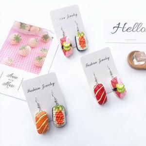 面白い ファッション 樹脂アクリル非対称寿司サーモン 女性 女の子 クリエイティブ かわいい 食品ブラブラ声明 イヤリング|okuda-store