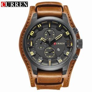 カレントップの 高級 メンズ 腕時計 マン 時計 男性 レトロ革軍ミリタリースポーツクォーツ 腕時計 男性 Hodinky Relojes|okuda-store